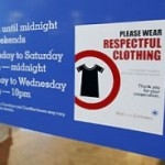 Respectful clothes sign in a mall